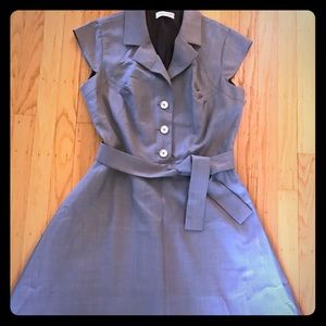 CALVIN KLEIN 8 taupe belted dress buttons fitted